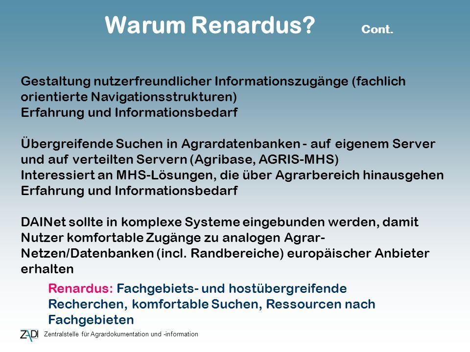 Zentralstelle für Agrardokumentation und -information Warum Renardus? Cont. Gestaltung nutzerfreundlicher Informationszugänge (fachlich orientierte Na