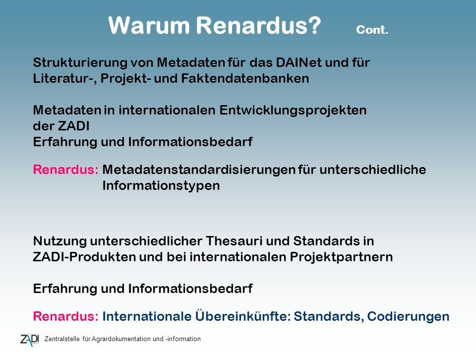 Zentralstelle für Agrardokumentation und -information Warum Renardus? Cont. Nutzung unterschiedlicher Thesauri und Standards in ZADI-Produkten und bei
