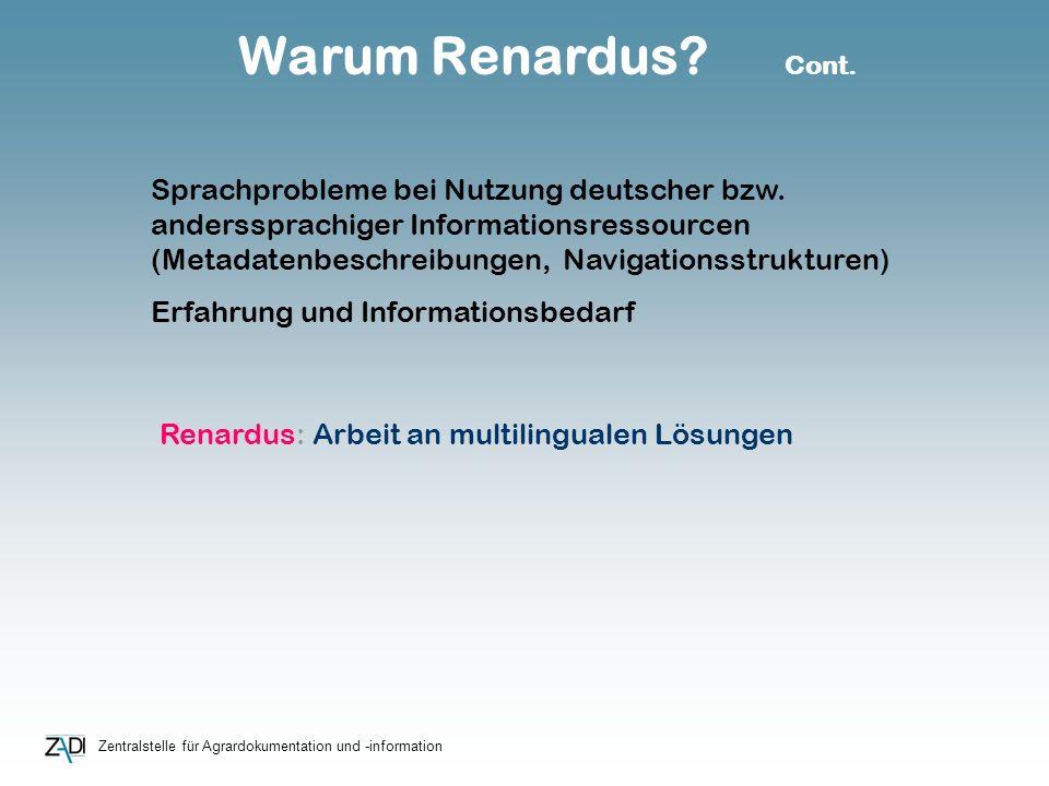 Zentralstelle für Agrardokumentation und -information Warum Renardus? Cont. Sprachprobleme bei Nutzung deutscher bzw. anderssprachiger Informationsres