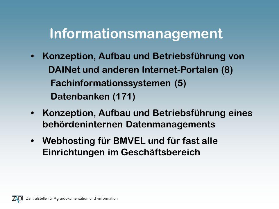 Zentralstelle für Agrardokumentation und -information Konzeption, Aufbau und Betriebsführung von DAINet und anderen Internet-Portalen (8) Fachinformat