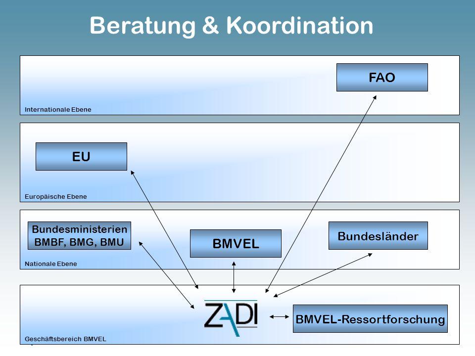 Zentralstelle für Agrardokumentation und -information EU FAO Bundesministerien BMBF, BMG, BMU Bundesländer BMVEL-Ressortforschung Internationale Ebene Europäische Ebene Nationale Ebene Geschäftsbereich BMVEL BMVEL Beratung & Koordination