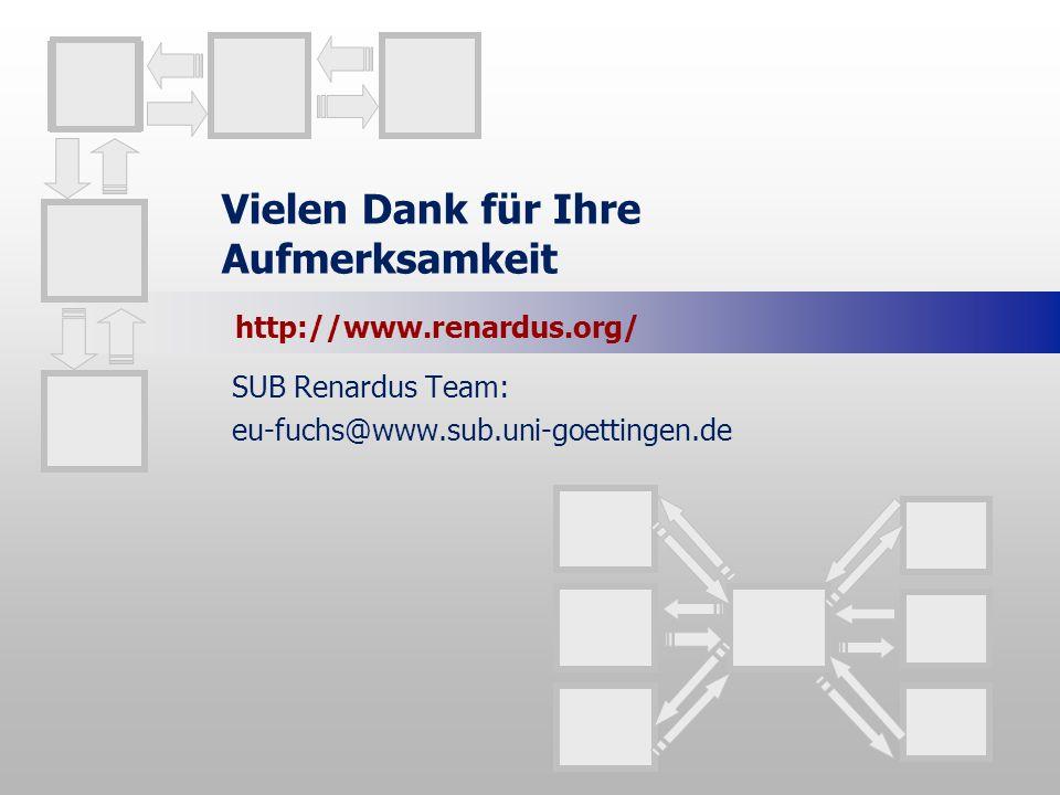 Vielen Dank für Ihre Aufmerksamkeit SUB Renardus Team: eu-fuchs@www.sub.uni-goettingen.de http://www.renardus.org/
