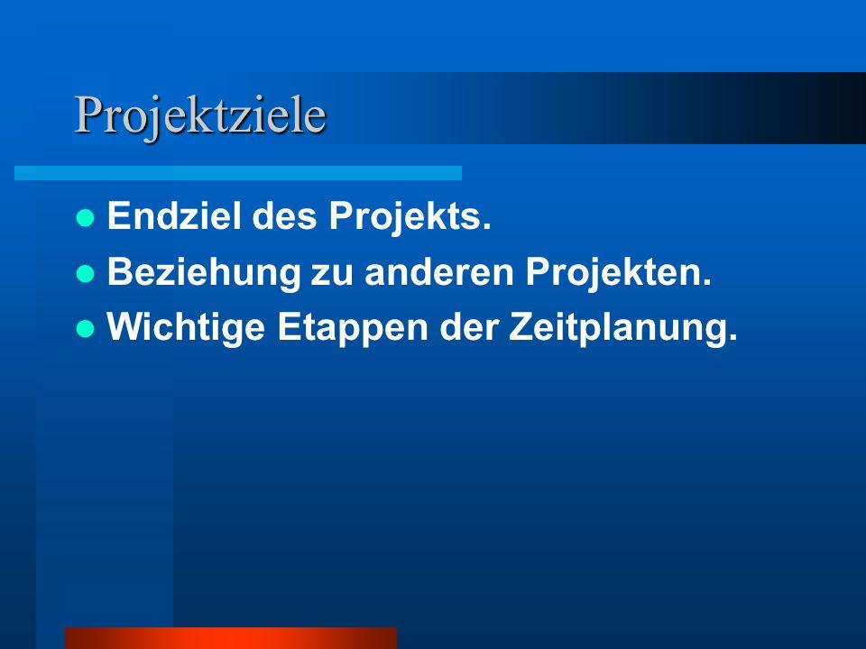 Projektziele Endziel des Projekts. Beziehung zu anderen Projekten. Wichtige Etappen der Zeitplanung.