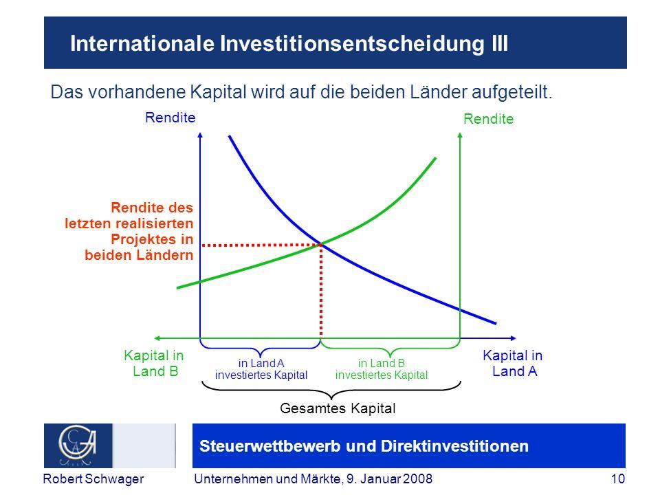 Steuerwettbewerb und Direktinvestitionen 10Robert SchwagerUnternehmen und Märkte, 9.