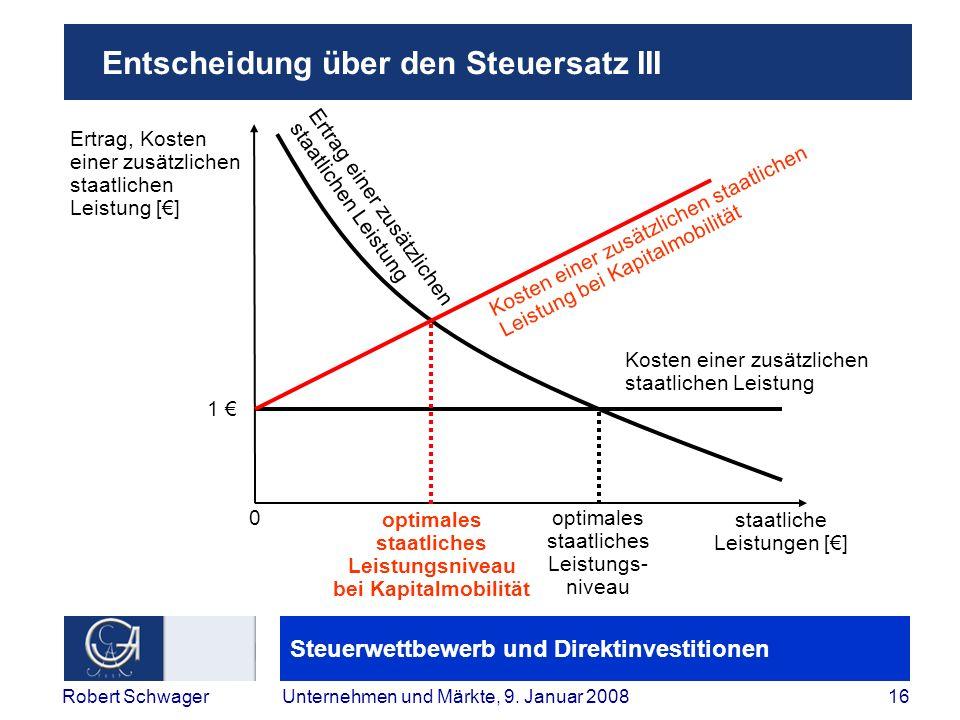 Steuerwettbewerb und Direktinvestitionen 16Robert SchwagerUnternehmen und Märkte, 9.