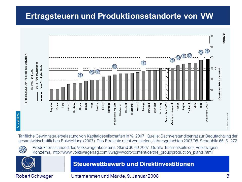 Steuerwettbewerb und Direktinvestitionen 3Robert SchwagerUnternehmen und Märkte, 9.
