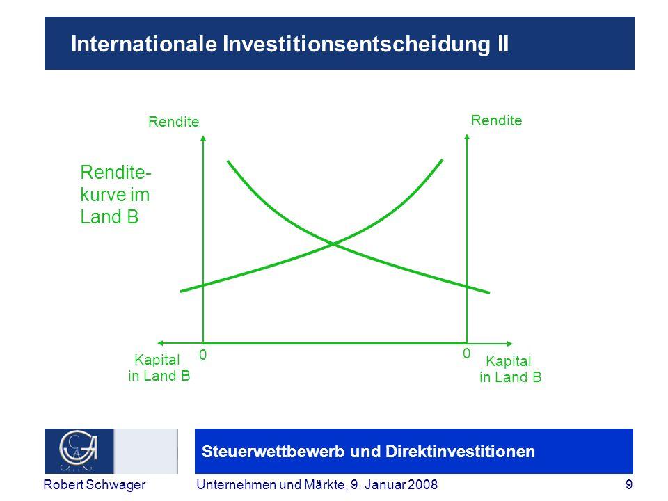 Steuerwettbewerb und Direktinvestitionen 9Robert SchwagerUnternehmen und Märkte, 9.