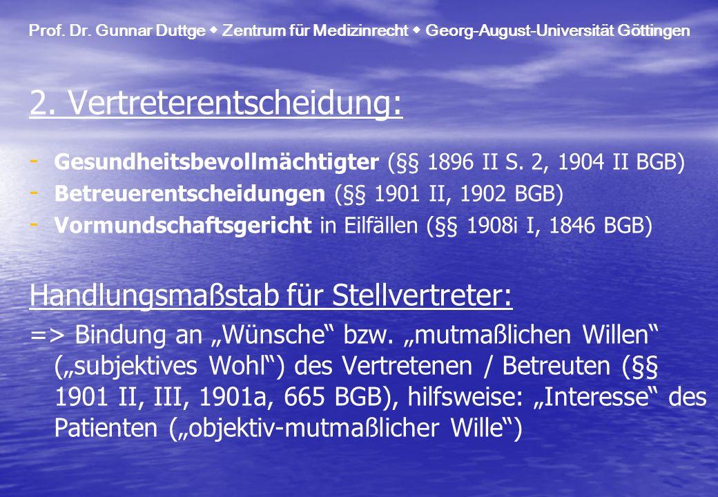 Prof. Dr. Gunnar Duttge Zentrum für Medizinrecht Georg-August-Universität Göttingen 2. Vertreterentscheidung: - - Gesundheitsbevollmächtigter (§§ 1896