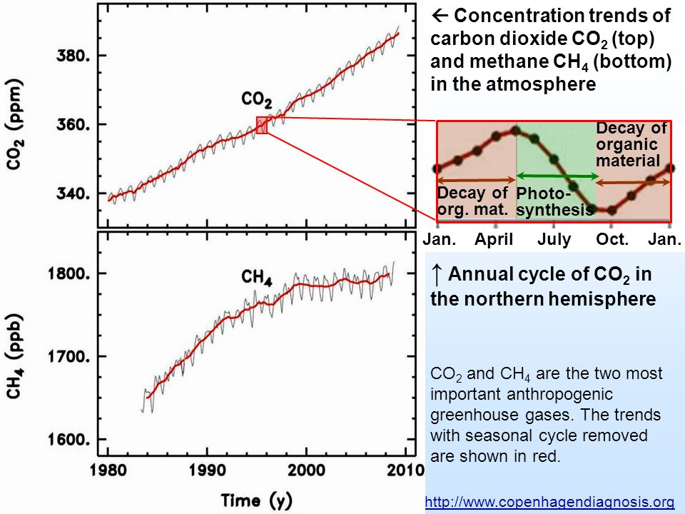 Concentration trends of carbon dioxide CO 2 (top) and methane CH 4 (bottom) in the atmosphere http://www.copenhagendiagnosis.org Annual cycle of CO 2