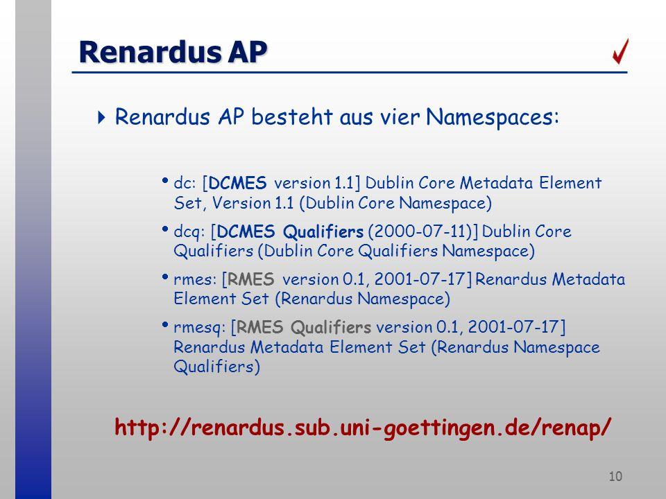 10 Renardus AP Renardus AP besteht aus vier Namespaces: dc: [DCMES version 1.1] Dublin Core Metadata Element Set, Version 1.1 (Dublin Core Namespace)