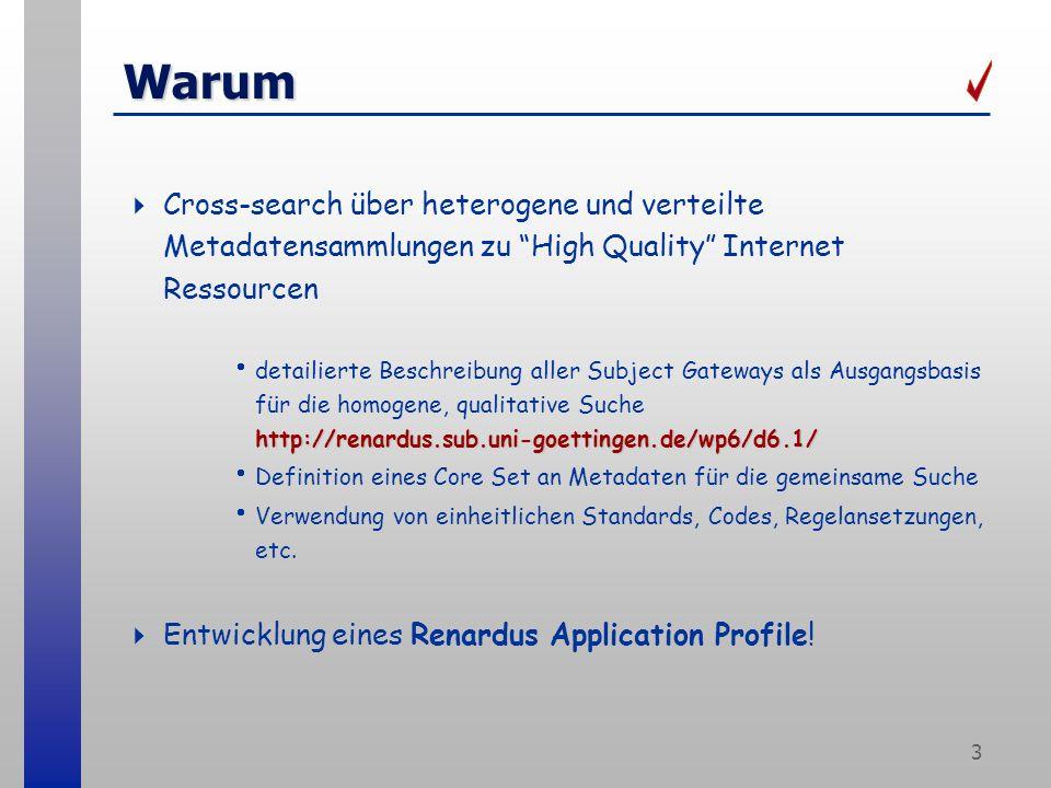 3 Warum Cross-search über heterogene und verteilte Metadatensammlungen zu High Quality Internet Ressourcen http://renardus.sub.uni-goettingen.de/wp6/d6.1/ detailierte Beschreibung aller Subject Gateways als Ausgangsbasis für die homogene, qualitative Suche http://renardus.sub.uni-goettingen.de/wp6/d6.1/ Definition eines Core Set an Metadaten für die gemeinsame Suche Verwendung von einheitlichen Standards, Codes, Regelansetzungen, etc.