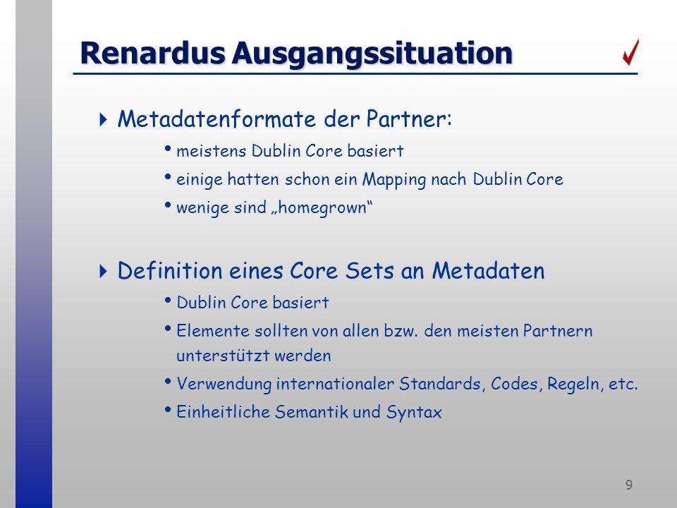 9 Renardus Ausgangssituation Metadatenformate der Partner: meistens Dublin Core basiert einige hatten schon ein Mapping nach Dublin Core wenige sind homegrown Definition eines Core Sets an Metadaten Dublin Core basiert Elemente sollten von allen bzw.