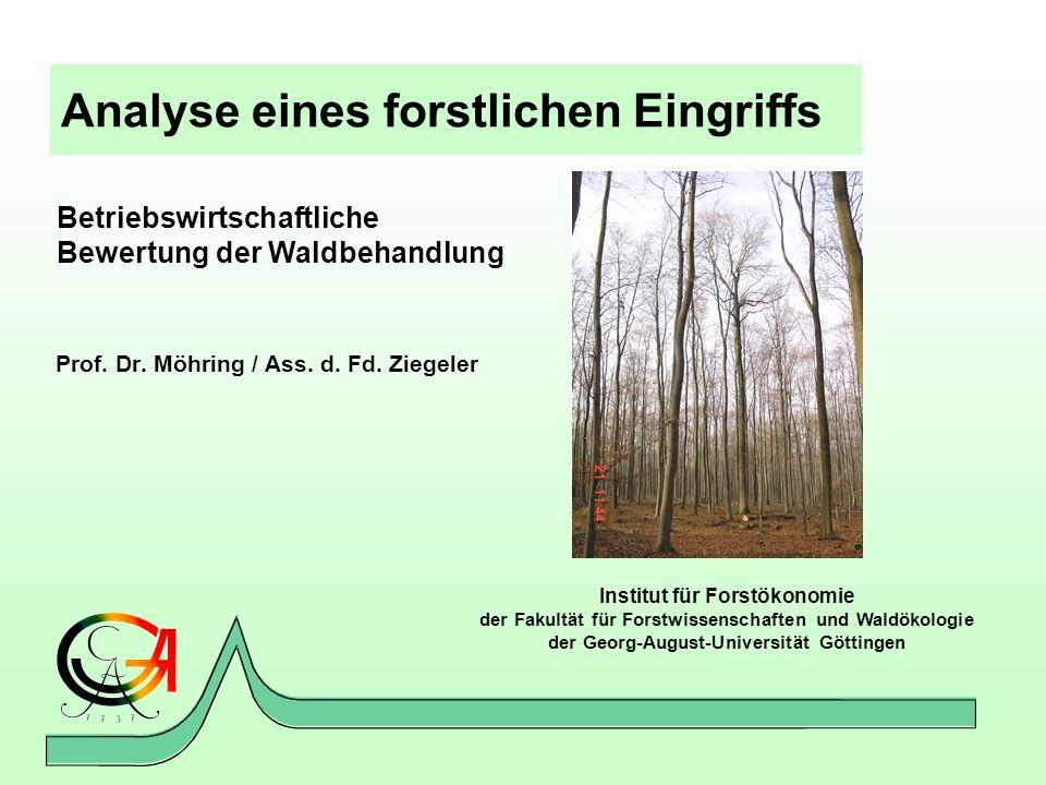 Analyse eines forstlichen Eingriffs Prof. Dr. Möhring / Ass. d. Fd. Ziegeler Institut für Forstökonomie der Fakultät für Forstwissenschaften und Waldö