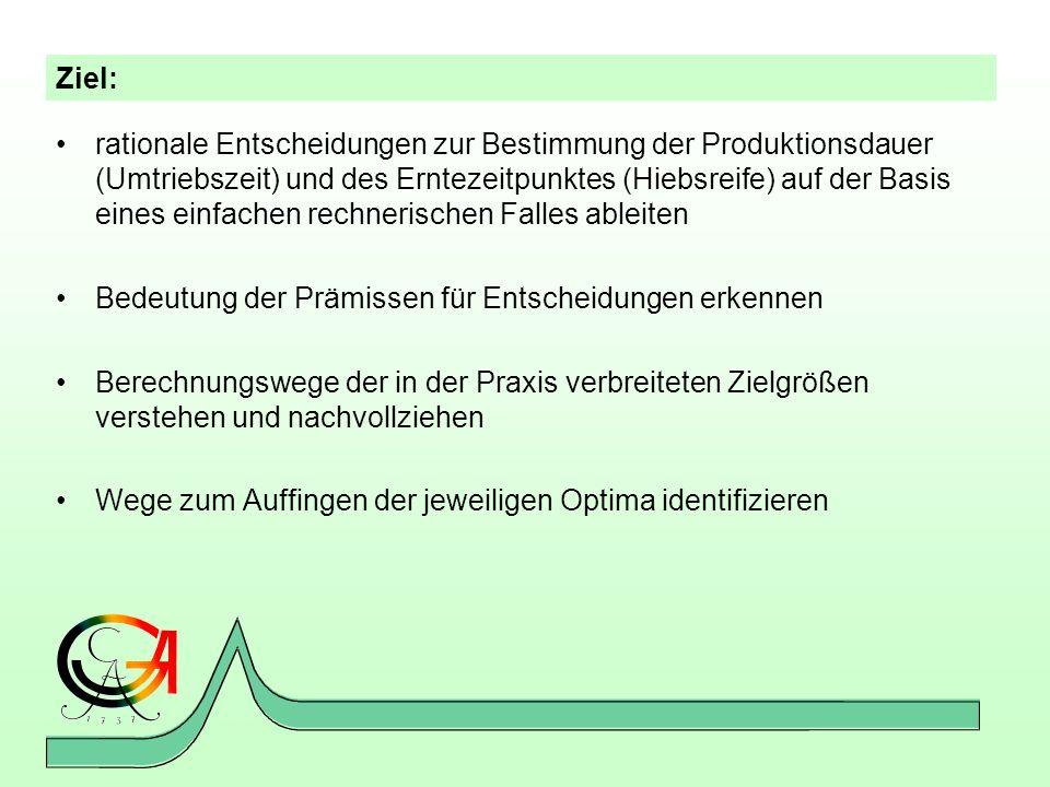 Ziel: rationale Entscheidungen zur Bestimmung der Produktionsdauer (Umtriebszeit) und des Erntezeitpunktes (Hiebsreife) auf der Basis eines einfachen
