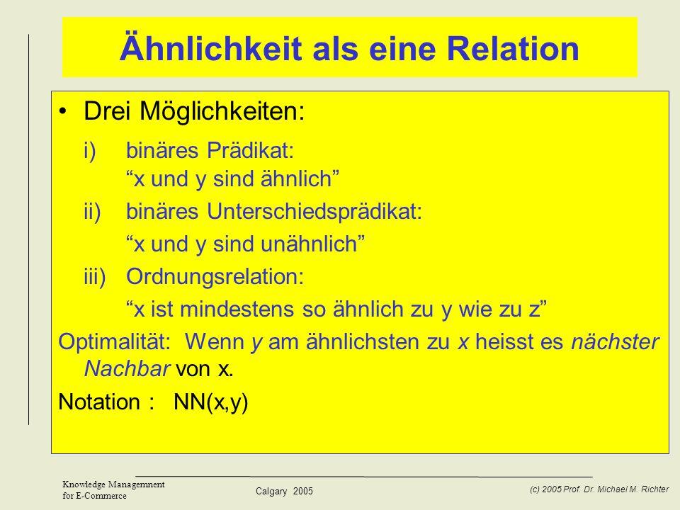 Calgary 2005 (c) 2005 Prof. Dr. Michael M. Richter Knowledge Managemnent for E-Commerce Ähnlichkeit als eine Relation Drei Möglichkeiten: i)binäres Pr