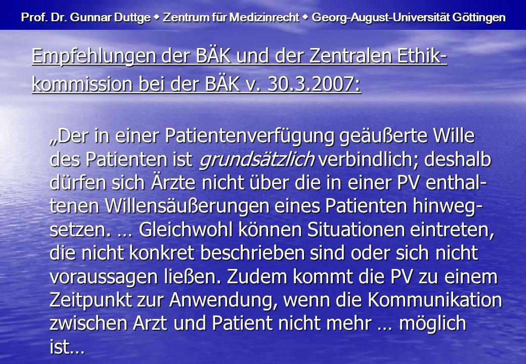 …Bedenken …, ob der antizipierte und der aktuelle Wille des Patienten noch identisch sind.