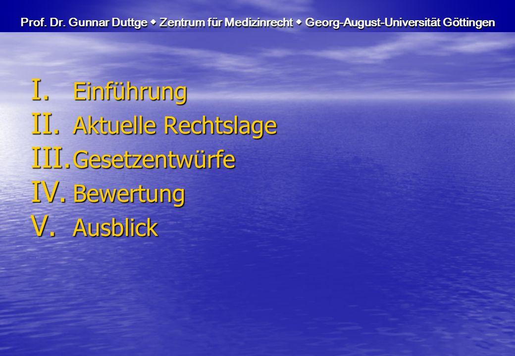 I. Einführung II. Aktuelle Rechtslage III. Gesetzentwürfe IV. Bewertung V. Ausblick Prof. Dr. Gunnar Duttge Zentrum für Medizinrecht Georg-August-Univ