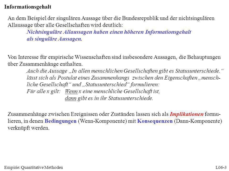 Empirie: Quantitative MethodenL06-3 Informationsgehalt An dem Beispiel der singulären Aussage über die Bundesrepublik und der nichtsingulären Allaussa