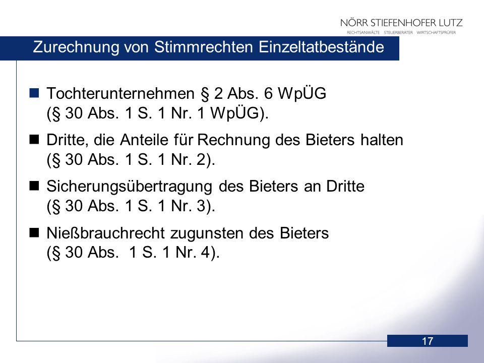 17 Zurechnung von Stimmrechten Einzeltatbestände Tochterunternehmen § 2 Abs. 6 WpÜG (§ 30 Abs. 1 S. 1 Nr. 1 WpÜG). Dritte, die Anteile für Rechnung de