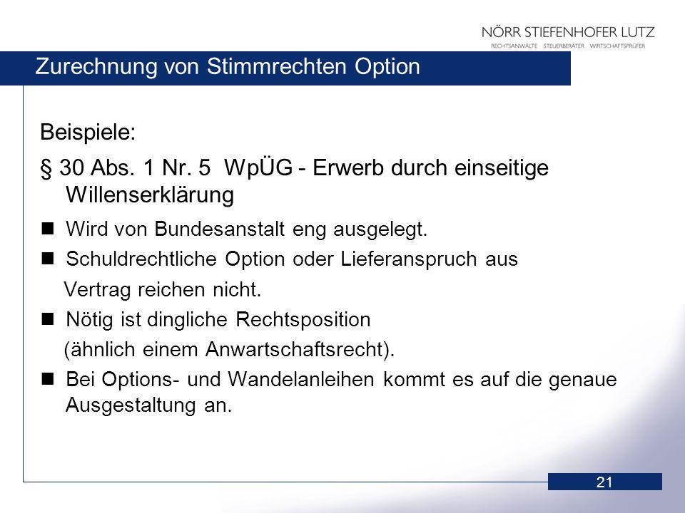 21 Zurechnung von Stimmrechten Option Beispiele: § 30 Abs. 1 Nr. 5 WpÜG - Erwerb durch einseitige Willenserklärung Wird von Bundesanstalt eng ausgeleg