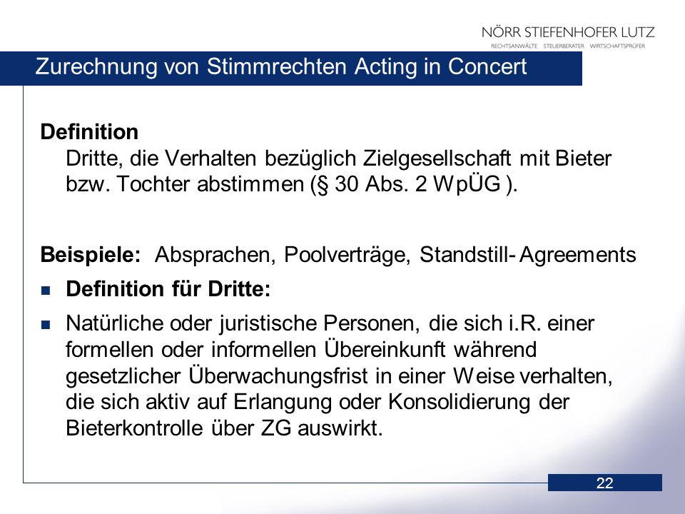 22 Zurechnung von Stimmrechten Acting in Concert Definition Dritte, die Verhalten bezüglich Zielgesellschaft mit Bieter bzw. Tochter abstimmen (§ 30 A
