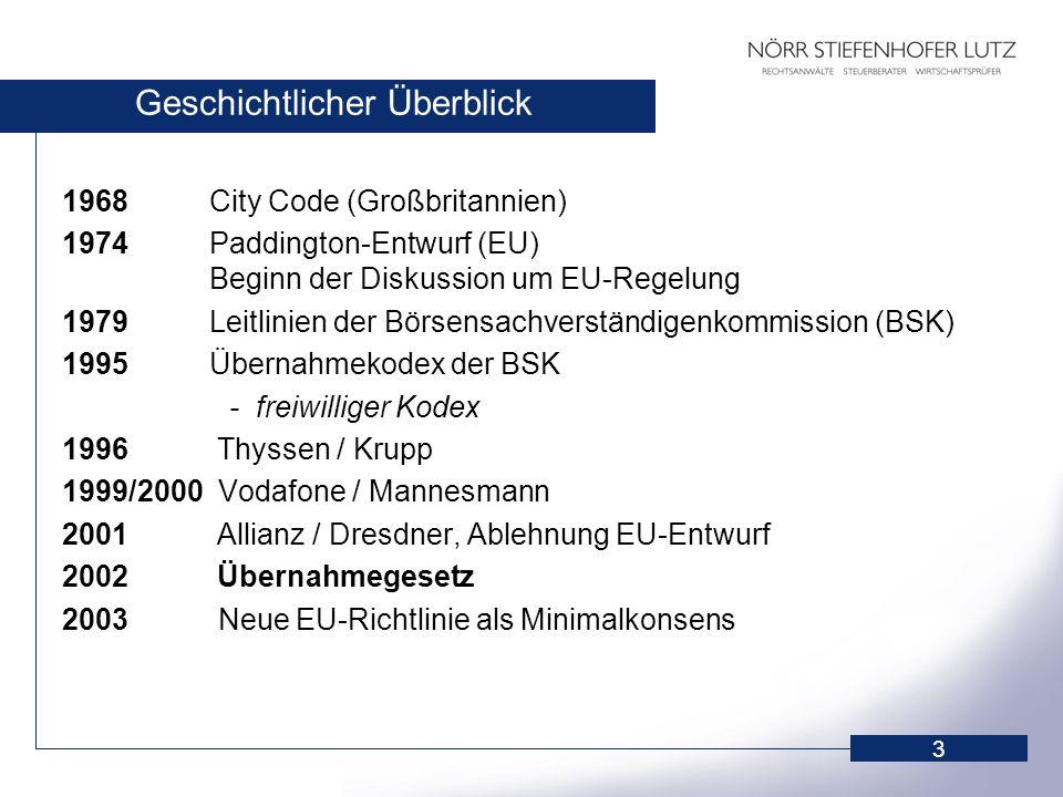 3 Geschichtlicher Überblick 1968 City Code (Großbritannien) 1974 Paddington-Entwurf (EU) Beginn der Diskussion um EU-Regelung 1979 Leitlinien der Börs