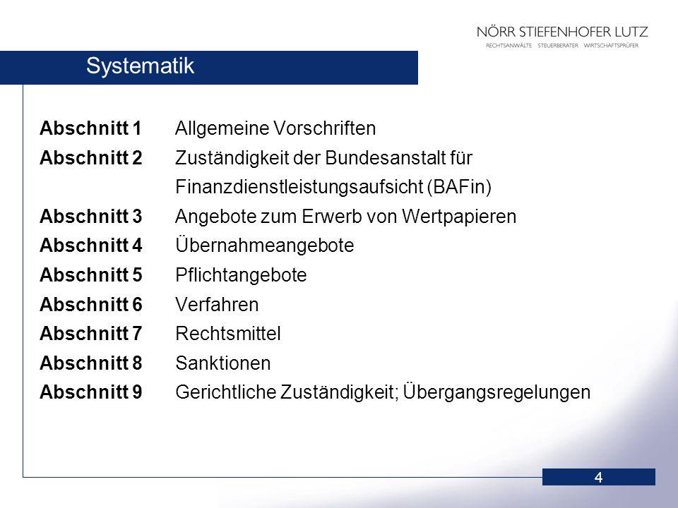 4 Systematik Abschnitt 1Allgemeine Vorschriften Abschnitt 2Zuständigkeit der Bundesanstalt für Finanzdienstleistungsaufsicht (BAFin) Abschnitt 3Angebo
