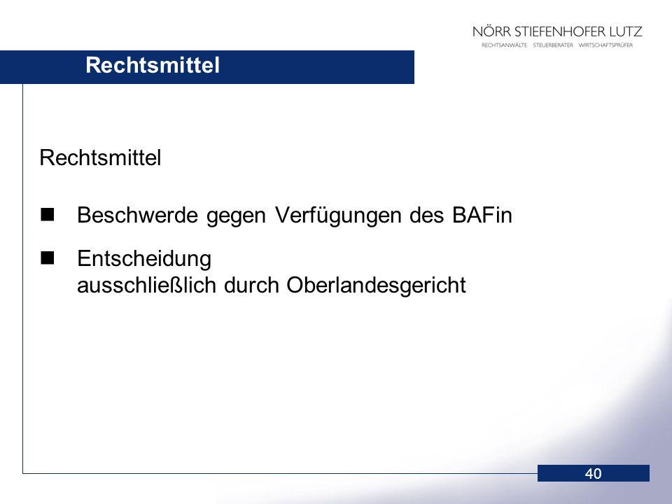 40 Rechtsmittel Beschwerde gegen Verfügungen des BAFin Entscheidung ausschließlich durch Oberlandesgericht