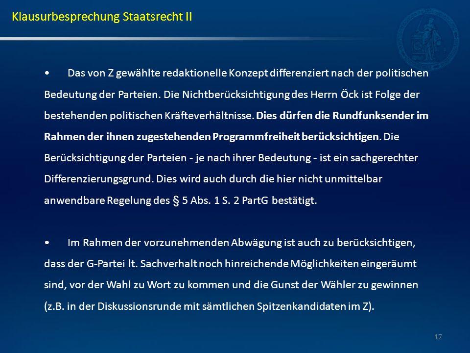 17 Das von Z gewählte redaktionelle Konzept differenziert nach der politischen Bedeutung der Parteien. Die Nichtberücksichtigung des Herrn Öck ist Fol