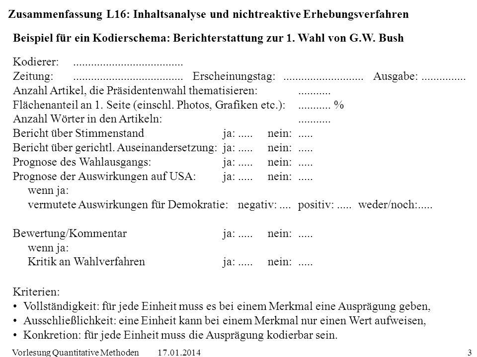 17.01.2014Vorlesung Quantitative Methoden3 Zusammenfassung L16: Inhaltsanalyse und nichtreaktive Erhebungsverfahren Kodierer:.........................
