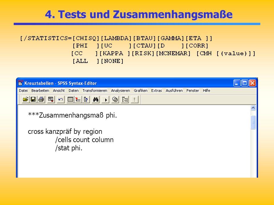 4. Tests und Zusammenhangsmaße 4. Tests und Zusammenhangsmaße ***Zusammenhangsmaß phi. cross kanzpräf by region /cells count column /stat phi.