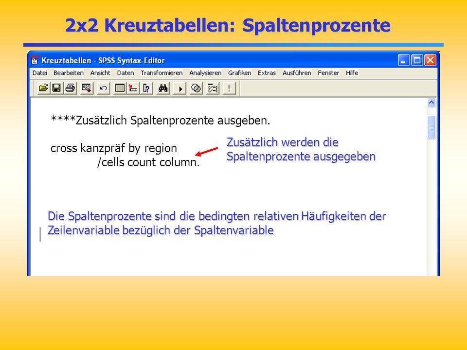 2x2 Kreuztabellen: Spaltenprozente ****Zusätzlich Spaltenprozente ausgeben. cross kanzpräf by region /cells count column. Zusätzlich werden die Spalte