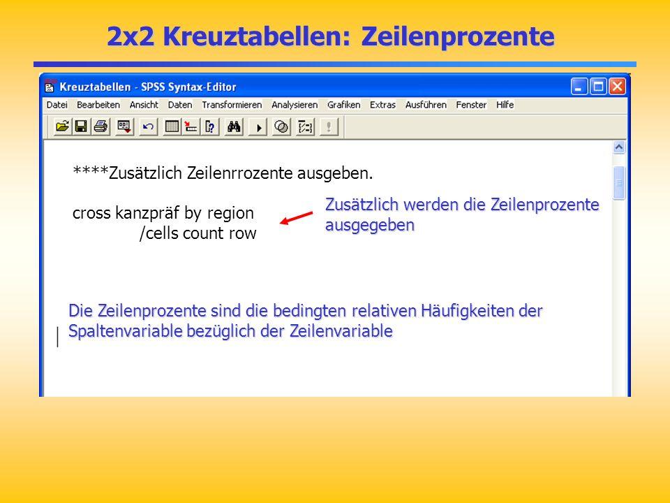 2x2 Kreuztabellen: Zeilenprozente 2x2 Kreuztabellen: Zeilenprozente ****Zusätzlich Zeilenrrozente ausgeben. cross kanzpräf by region /cells count row