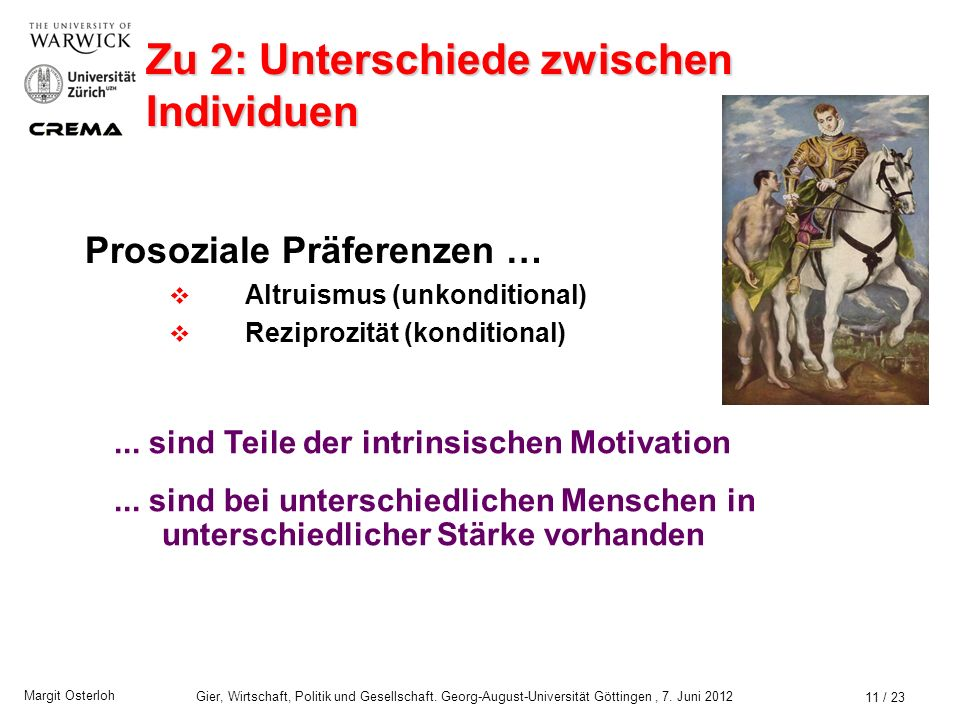 Margit Osterloh Gier, Wirtschaft, Politik und Gesellschaft. Georg-August-Universität Göttingen, 7. Juni 2012 Zu 1: Art der Präferenzen 10 / 23 Extrins