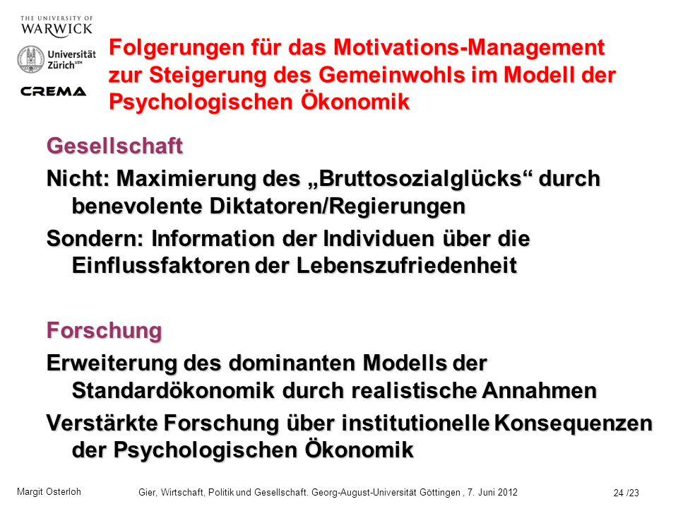 Margit Osterloh Gier, Wirtschaft, Politik und Gesellschaft.