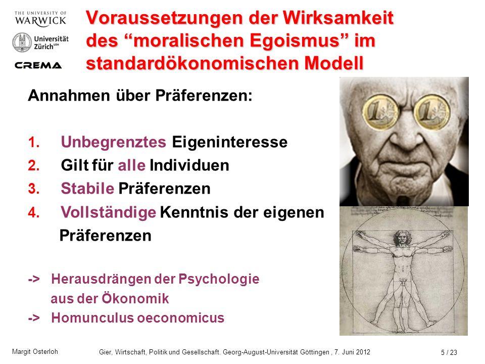 Margit Osterloh Gier, Wirtschaft, Politik und Gesellschaft. Georg-August-Universität Göttingen, 7. Juni 2012 Problem Fördert die Lehre vom moralischen