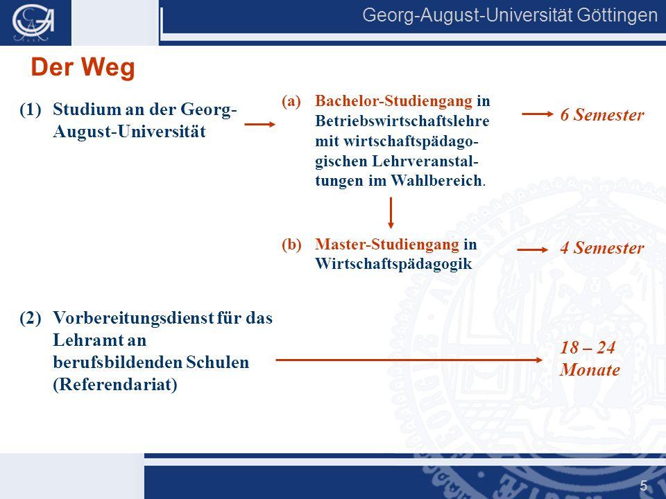 Georg-August-Universität Göttingen 5 Der Weg (1)Studium an der Georg- August-Universität (2)Vorbereitungsdienst für das Lehramt an berufsbildenden Sch