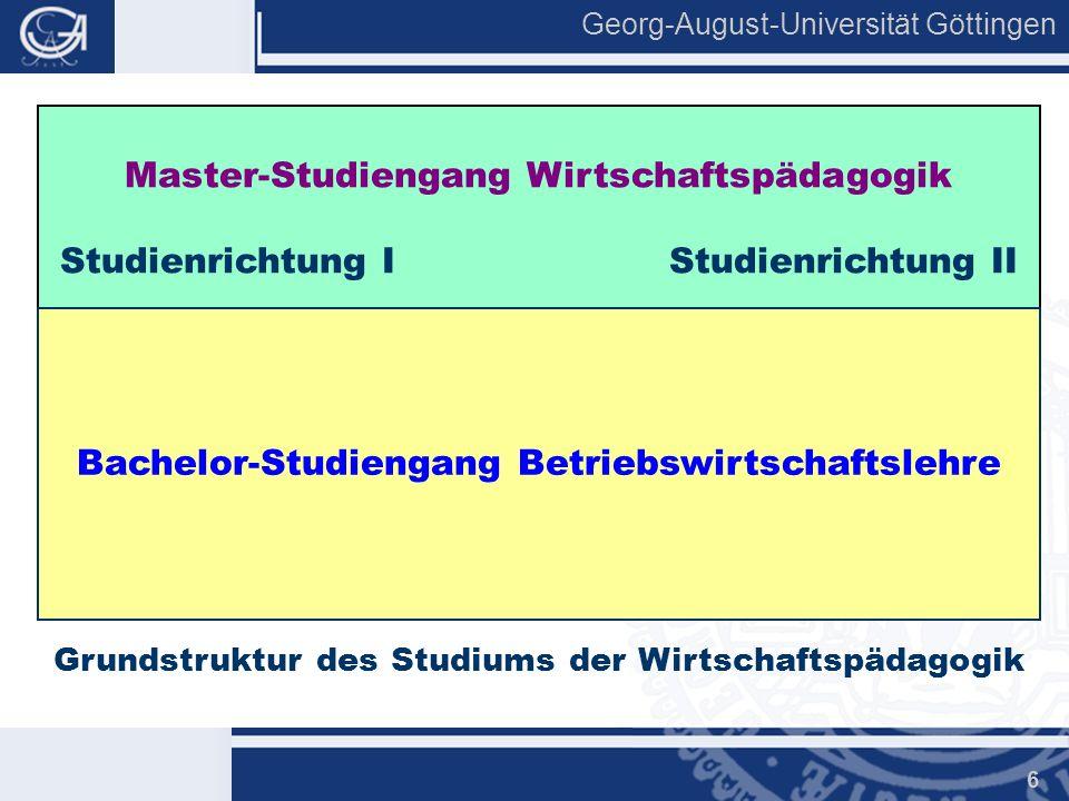 Georg-August-Universität Göttingen 6 Grundstruktur des Studiums der Wirtschaftspädagogik Master-Studiengang Wirtschaftspädagogik Studienrichtung I Stu