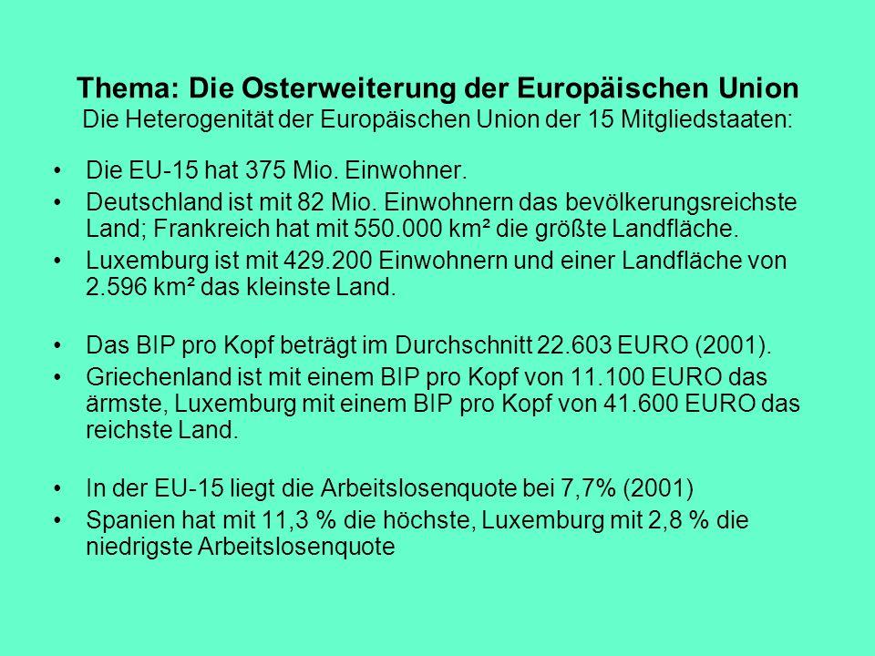 Thema: Die Osterweiterung der Europäischen Union Die Heterogenität der Europäischen Union der 15 Mitgliedstaaten: Die EU-15 hat 375 Mio. Einwohner. De