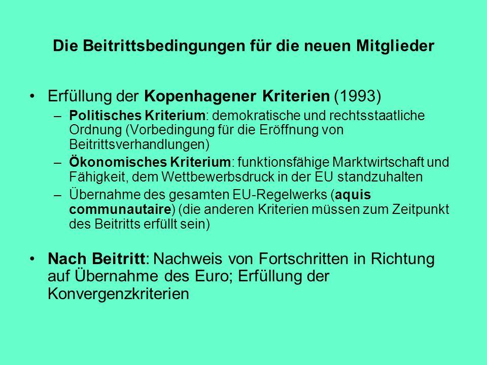 Die Beitrittsbedingungen für die neuen Mitglieder Erfüllung der Kopenhagener Kriterien (1993) –Politisches Kriterium: demokratische und rechtsstaatlic