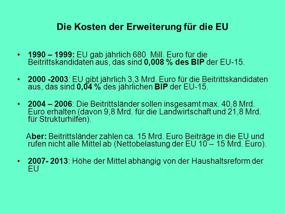 Die Kosten der Erweiterung für die EU 1990 – 1999: EU gab jährlich 680 Mill. Euro für die Beitrittskandidaten aus, das sind 0,008 % des BIP der EU-15.