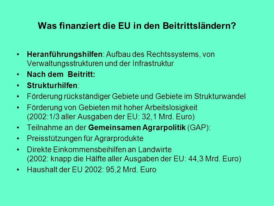 Was finanziert die EU in den Beitrittsländern? Heranführungshilfen: Aufbau des Rechtssystems, von Verwaltungsstrukturen und der Infrastruktur Nach dem