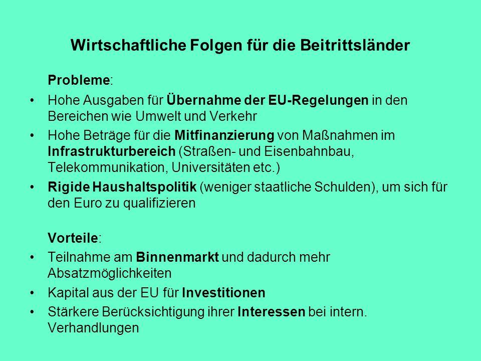 Wirtschaftliche Folgen für die Beitrittsländer Probleme: Hohe Ausgaben für Übernahme der EU-Regelungen in den Bereichen wie Umwelt und Verkehr Hohe Be