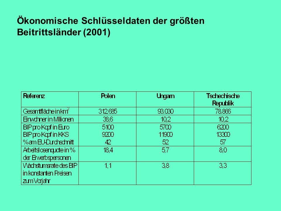 Ökonomische Schlüsseldaten der größten Beitrittsländer (2001)