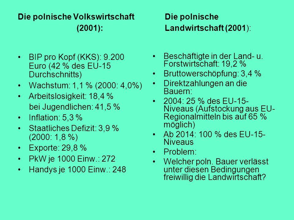 Die polnische VolkswirtschaftDie polnische (2001):Landwirtschaft (2001): BIP pro Kopf (KKS): 9.200 Euro (42 % des EU-15 Durchschnitts) Wachstum: 1,1 %