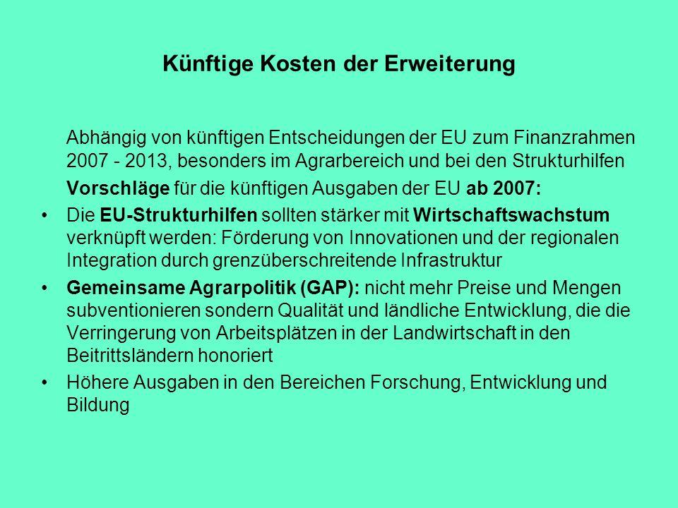Künftige Kosten der Erweiterung Abhängig von künftigen Entscheidungen der EU zum Finanzrahmen 2007 - 2013, besonders im Agrarbereich und bei den Struk