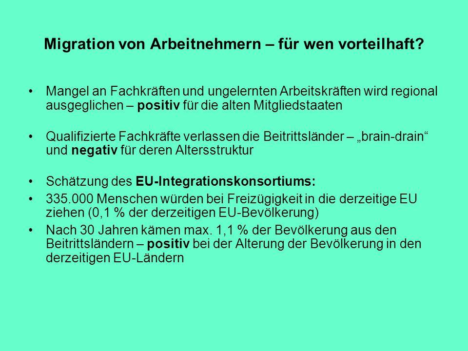 Migration von Arbeitnehmern – für wen vorteilhaft? Mangel an Fachkräften und ungelernten Arbeitskräften wird regional ausgeglichen – positiv für die a