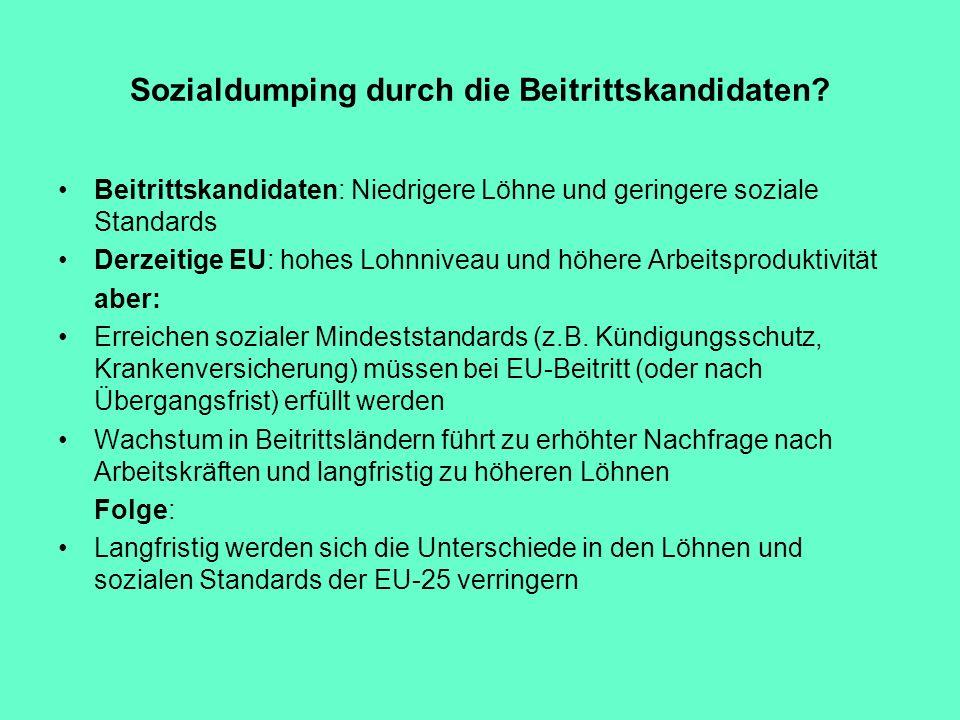 Sozialdumping durch die Beitrittskandidaten? Beitrittskandidaten: Niedrigere Löhne und geringere soziale Standards Derzeitige EU: hohes Lohnniveau und