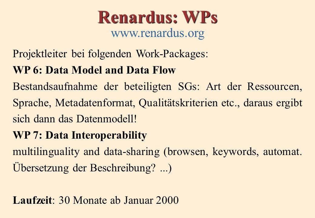 Renardus: WPs www.renardus.org Projektleiter bei folgenden Work-Packages: WP 6: Data Model and Data Flow Bestandsaufnahme der beteiligten SGs: Art der Ressourcen, Sprache, Metadatenformat, Qualitätskriterien etc., daraus ergibt sich dann das Datenmodell.