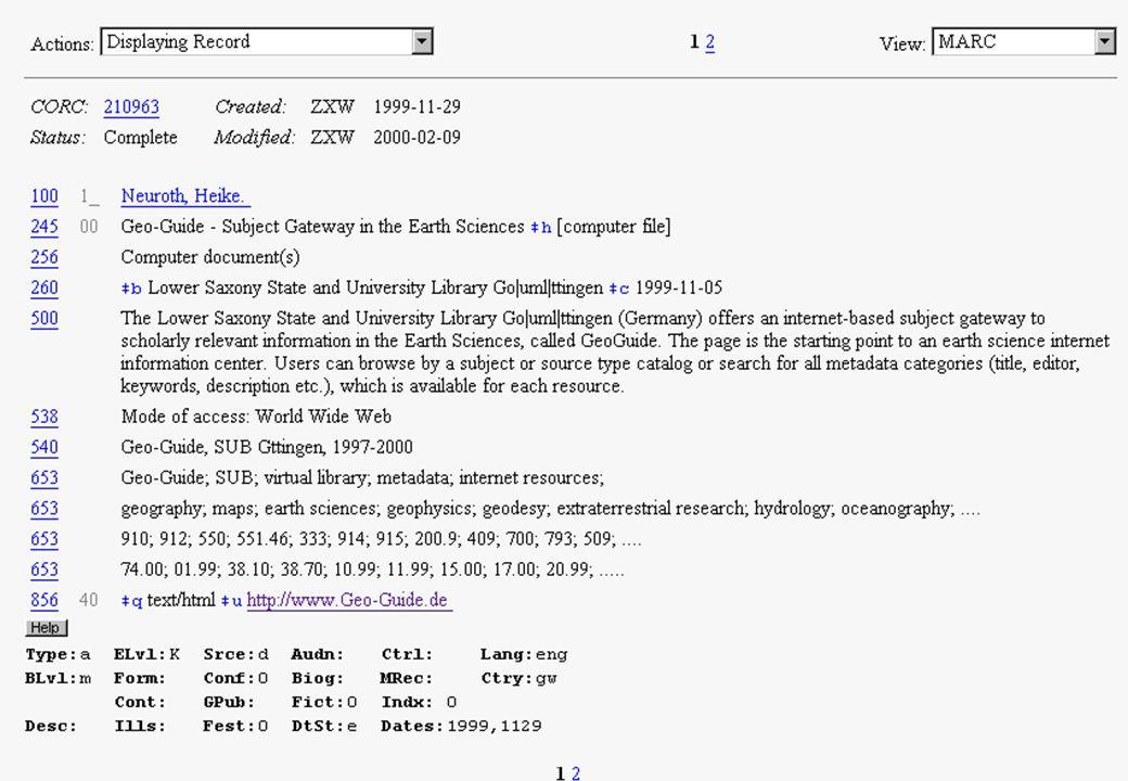 ISAAC Network http://scout.cs.wisc.edu/research/ –Initiative des Internet Scout Projektes (Computer Sciences Department at the University of Wisconsin-Madison) –ebenfalls High Quality Ressourcen, mit DC Metadaten –Zielgruppe ebenfalls higher education community –bietet einheitliche Suchoberfläche für verteilte Metadaten- Sammlungen an, Nutzer kann also gleichzeitig in ver- schiedenen Datenbanken suchen.